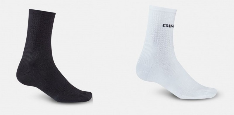 versch GIRO HRc Team Socks 15cm hoch Fahrrad//Sport-Socken Größen Schwarz//Weiß